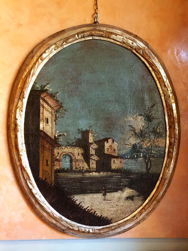 Paesaggio con architetture Dipinto ad olio su tela-jpeg
