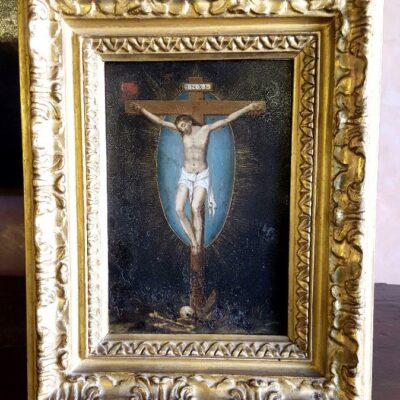Crocifissione dipinto ad olio su rame-jpeg