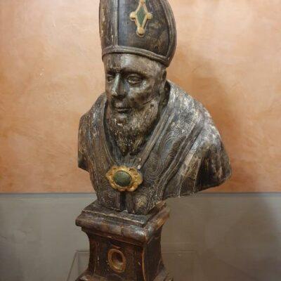 Busto reliquario in legno argentato