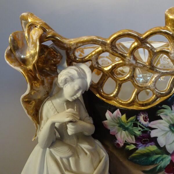 Cachepot in porcellana policroma Francia XIX secolo-1