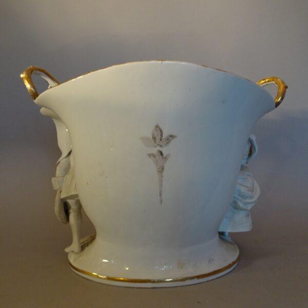 Cachepot in porcellana policroma Francia XIX secolo-3