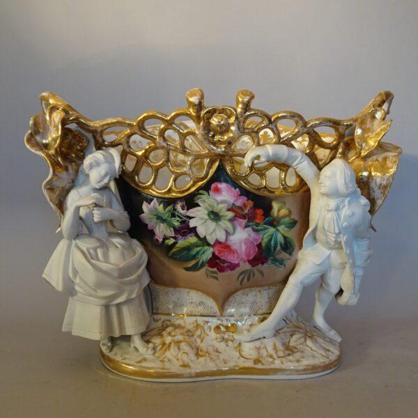 Cachepot in porcellana policroma Francia XIX secolo