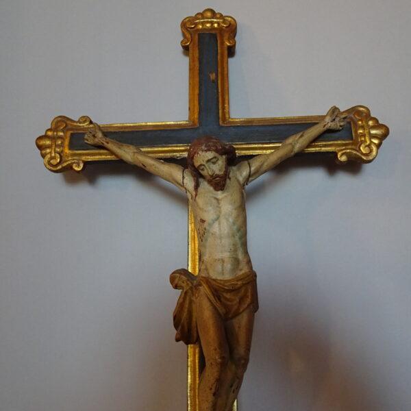 Cristo in legno policromo con croce -1
