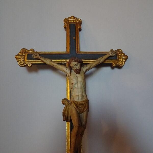 Cristo in legno policromo con croce -2