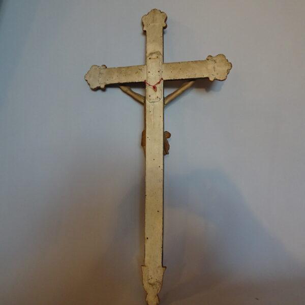 Cristo in legno policromo con croce -3