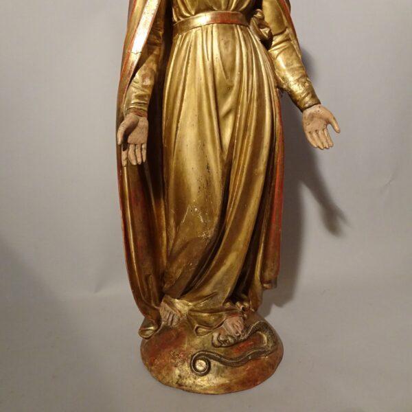 Madonna Immacolata in terracotta e cartapesta dorata XIX secolo-2