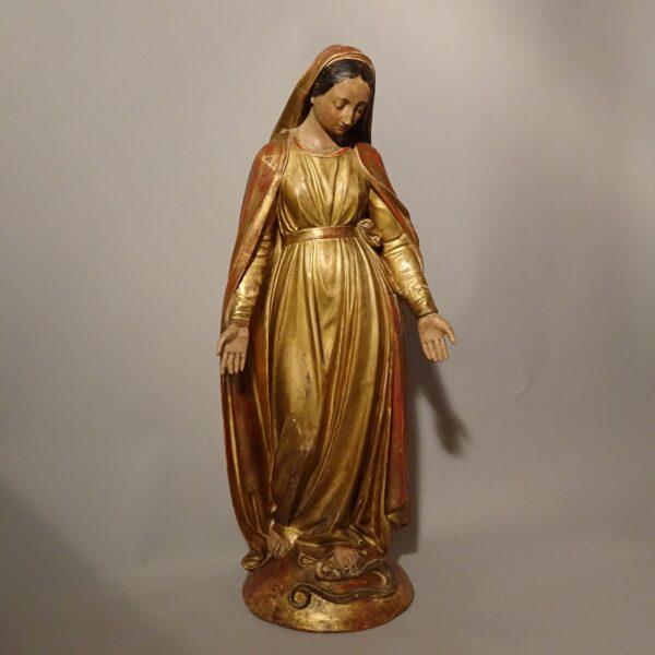 Madonna Immacolata in terracotta e cartapesta dorata XIX secolo