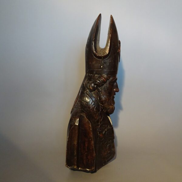 Busto di Vescovo in legno argentato-2