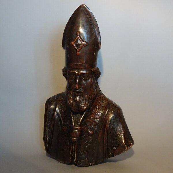 Busto di Vescovo in legno argentato