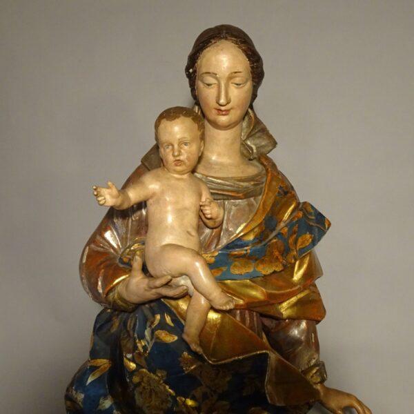 Madonna con il Bambino scultura in legno fine XVIII sec.-1