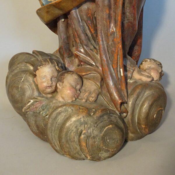 Madonna con il Bambino scultura in legno fine XVIII sec.-2