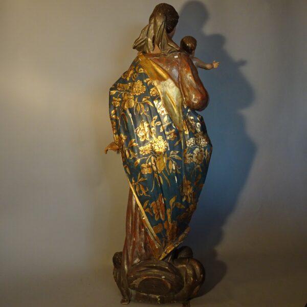 Madonna con il Bambino scultura in legno fine XVIII sec.-3