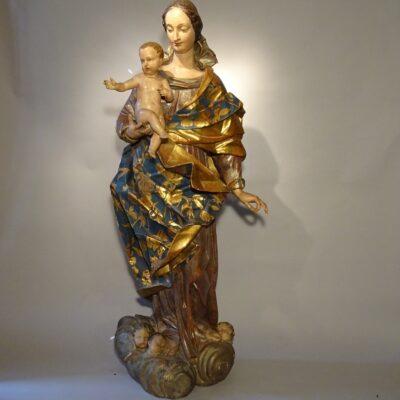 Madonna con il Bambino scultura in legno fine XVIII sec.