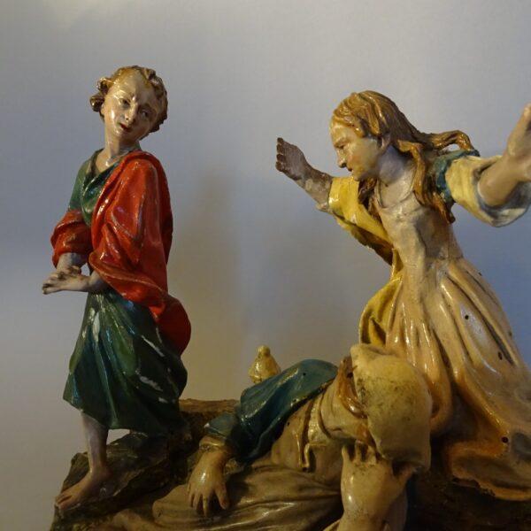 Piccolo gruppo scultoreo in legno policromo-1