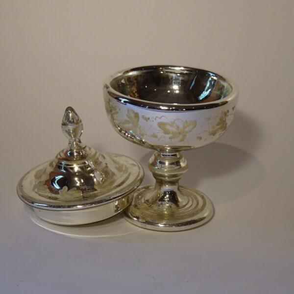 Pisside in vetro argentato XIX secolo-2