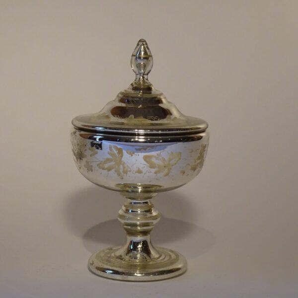 Pisside in vetro argentato XIX secolo