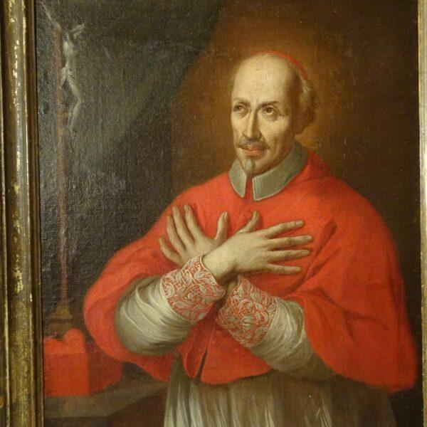 Ritratto di cardinale olio su tela XVIII sec.-1
