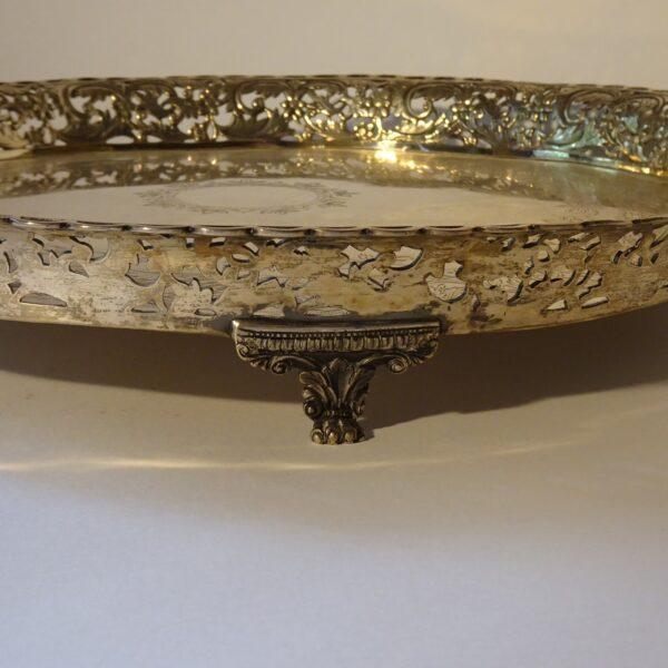 Vassoio in argento metà XIX secolo-2