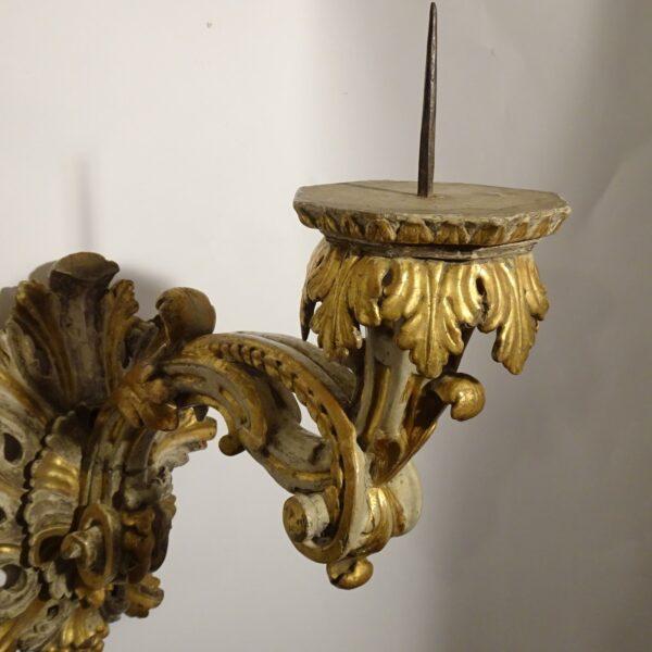 Braccio in legno laccato e dorato XVIII sec-2