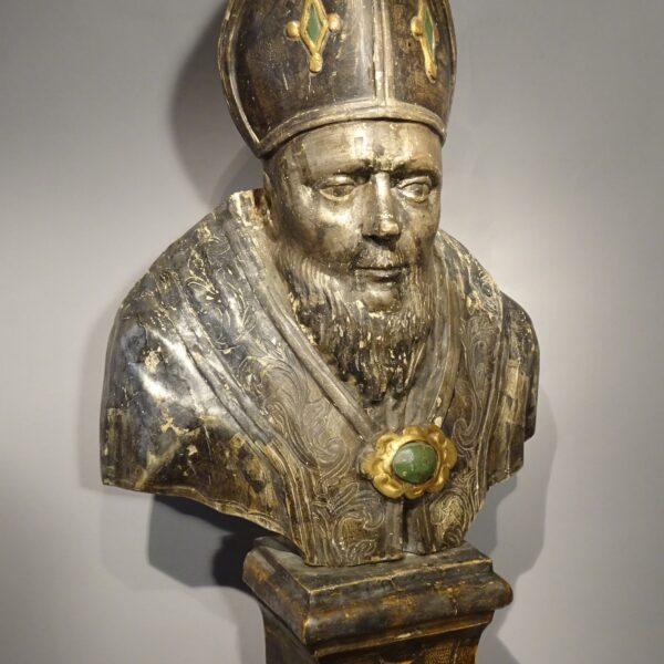 Busto reliquiario in legno argentato-1