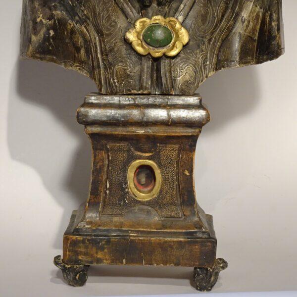 Busto reliquiario in legno argentato-2