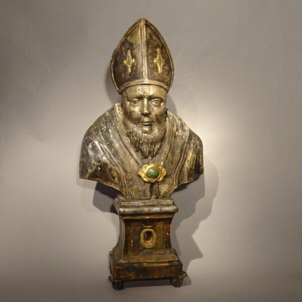 Busto reliquiario in legno argentato