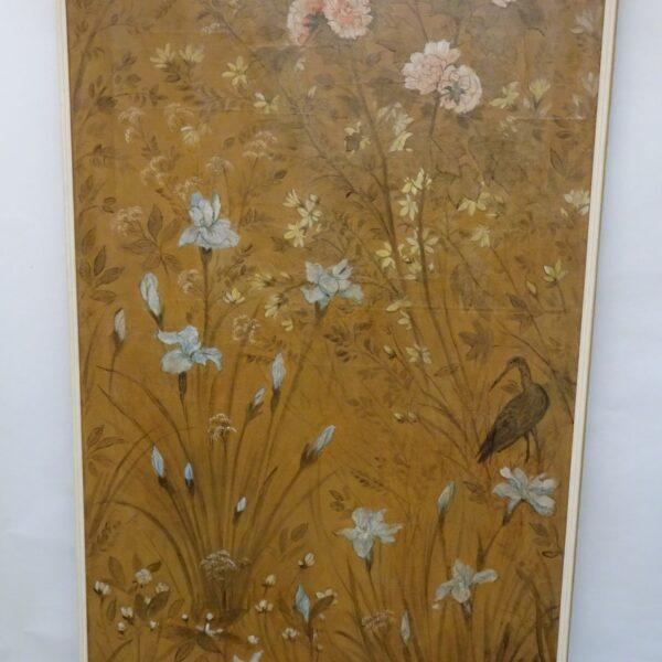 Coppia di pannelli in carta dipinti XVIII secolo-1