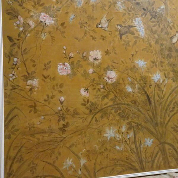 Coppia di pannelli in carta dipinti XVIII secolo-3