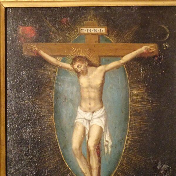 Crocifissione olio su rame XIX secolo-1