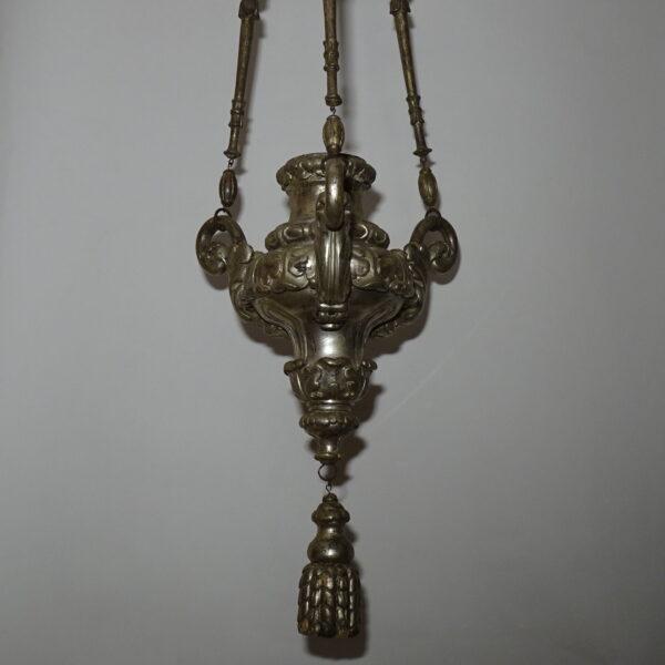 Lampada votiva in legno argentato XVIII secolo-1