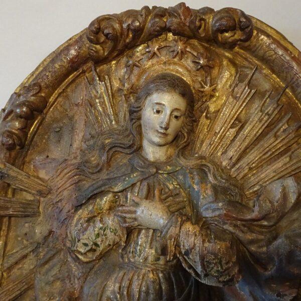 Madonna in legno policromo XVII secolo-3