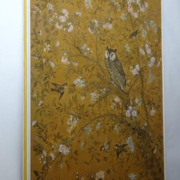 Pannello in carta dipinto XVIII secolo-1