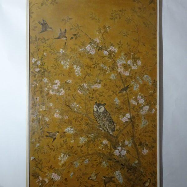 Pannello in carta dipinto XVIII secolo-2