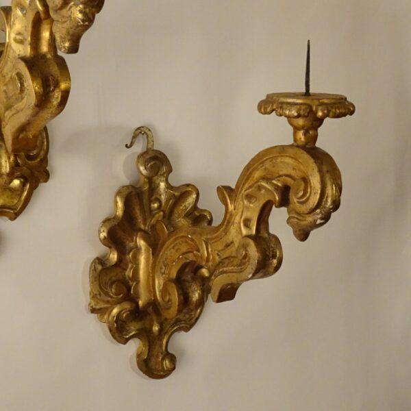 Quattro bracci in legno dorato a mecca XVIII sec.-1