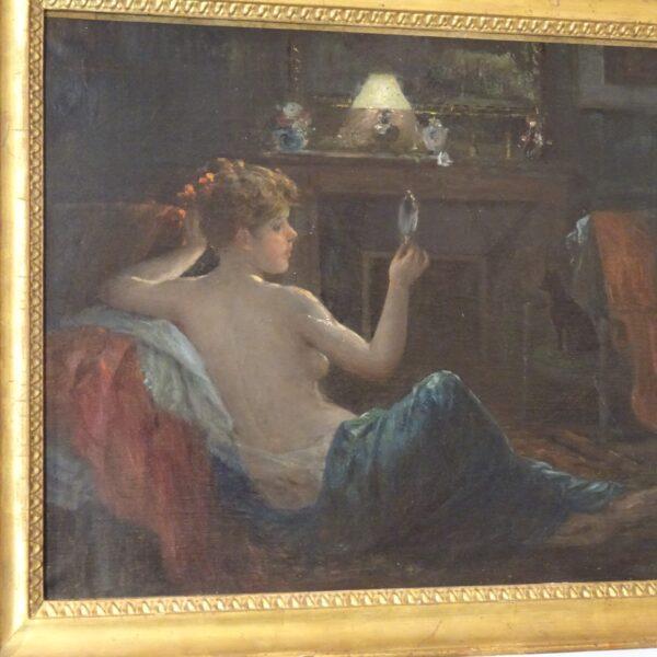 Ragazza con specchio dipinto ad olio su tela-1