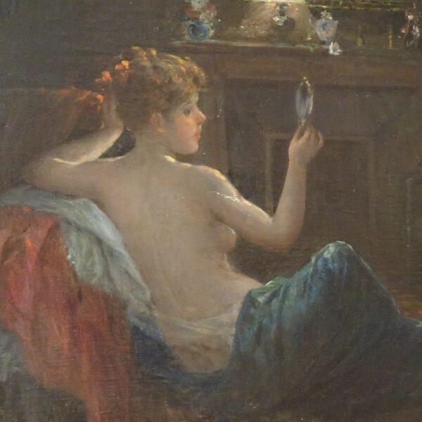 Ragazza con specchio dipinto ad olio su tela-