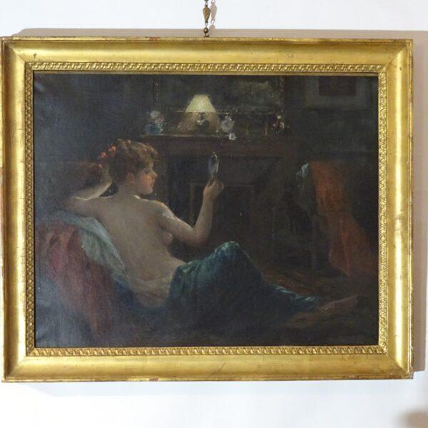 Ragazza con specchio dipinto ad olio su tela-3