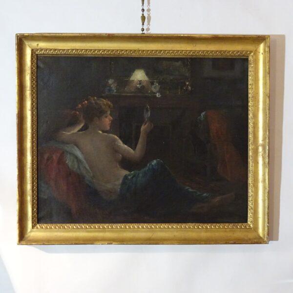 Ragazza con specchio dipinto ad olio su tela