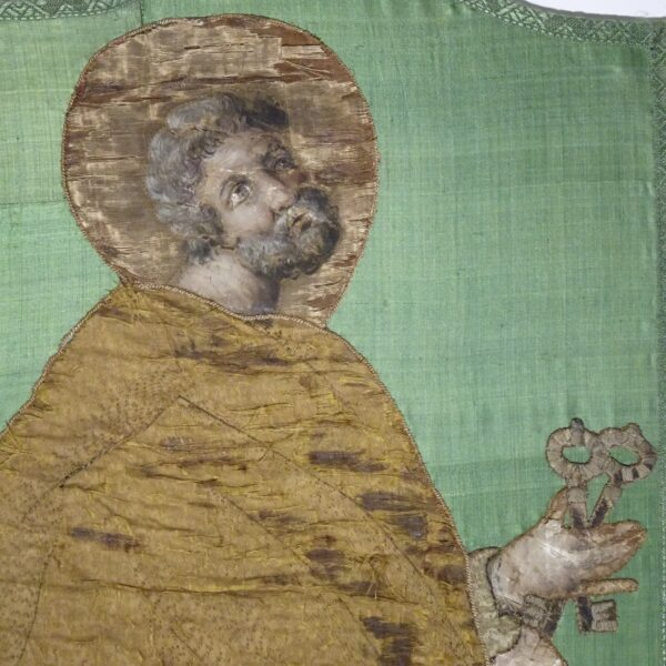 Ricamo su seta raffigurante S. Pietro XVIII secolo-