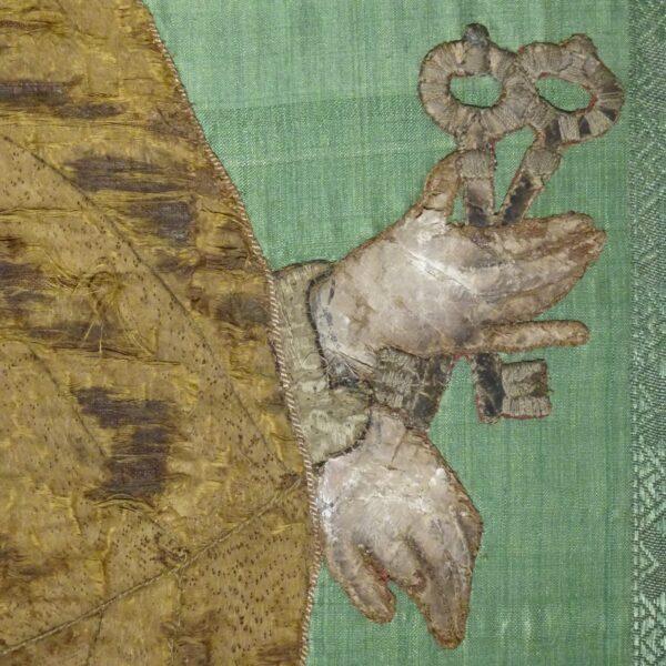 Ricamo su seta raffigurante S. Pietro XVIII secolo-2