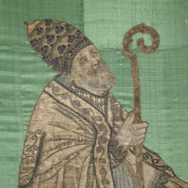 Ricamo su seta raffigurante Vescovo XVIII