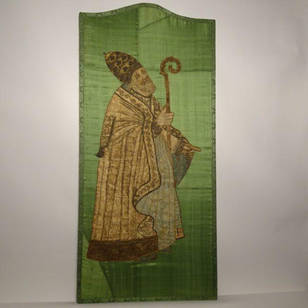 Ricamo su seta raffigurante Vescovo XVIII secolo