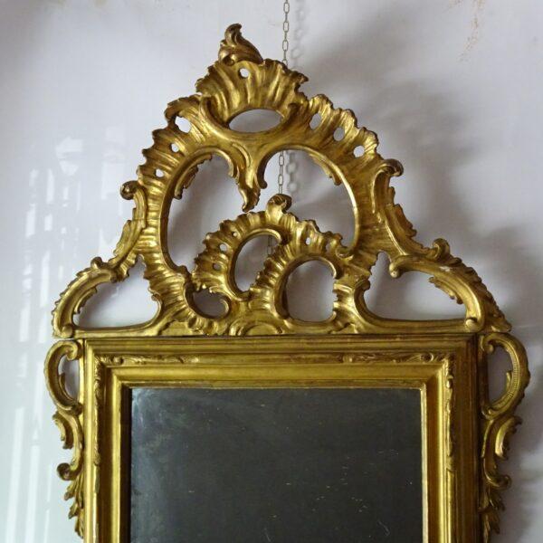 Specchiera in legno dorato XVIII sec.-1