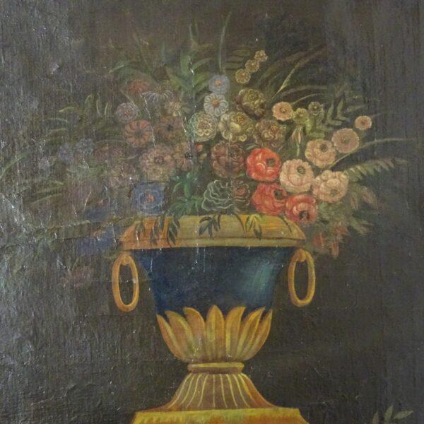 Vaso con fiori olio su tela XIX secolo-1