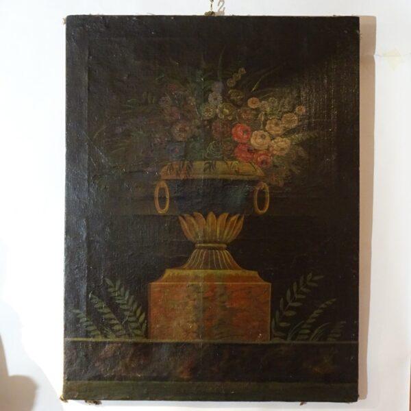 Vaso con fiori olio su tela XIX secolo