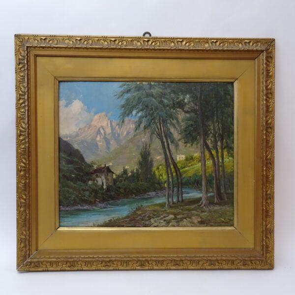 Francesco Domenighini Paesaggio con vista del Monte Rosa